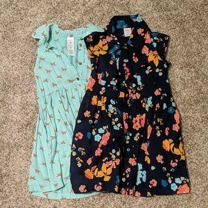 Button Collar Dresses Pair